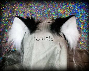 Basic Black Realistic Kitten Ears, Cat Ears, Black and White Cat Ears