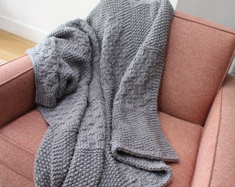 Soft Cozy Hand Knit Acrylic Square Lap Blanket - 50 inches x 50 inches