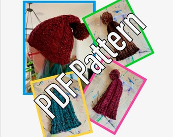 Knitted Stacked Hearts Cable Hat PDF Pattern Download