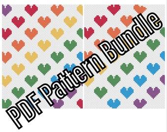 Rainbow Hearts Bundle- PDF Cross Stitch Pattern