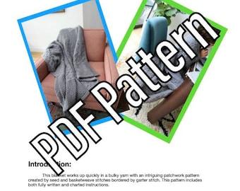 Patchwork Throw Blanket PDF Knitting Pattern