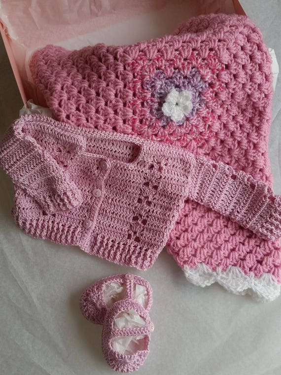 Pink Cotton Baby Clothing Set Crochet Baby Blanket Newborn Etsy