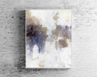 "Large abstract painting abstract art wall art fine art print wall art blue white brown beige neutral ""Highlandia 3"""