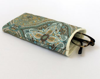 Black Paisley Quilted Padded SunglassesGlasses Case