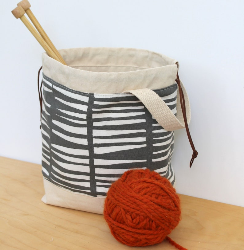 knitting bag craft project bag gift for knitters crochet bag modern knitting bag gift for crafters crafters bag project storage bag