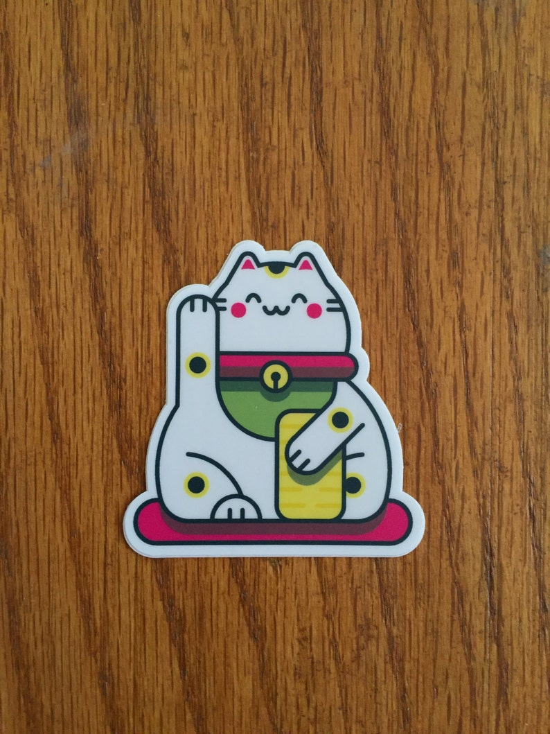 Cute Lucky Cat Sticker   Maneki-Neko   Welcoming Cat Sticker image 0