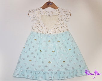 251f82ad65 SOPHIA Heart Cutout dress   size 2   girls dress rainy day golden raindrops  umbrella on light blue