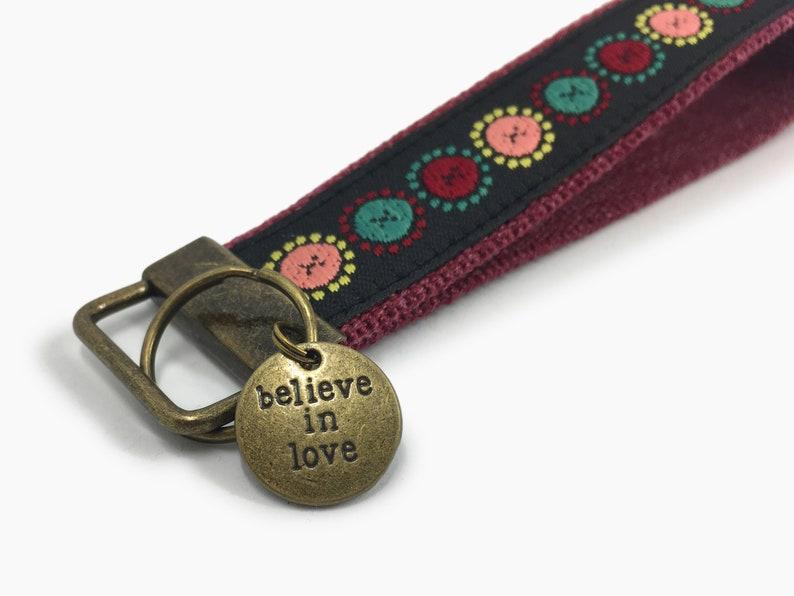 Short Lanyard Cute Car Key Fob Keychain Wristlet with Circle Pattern Housewarming Gift