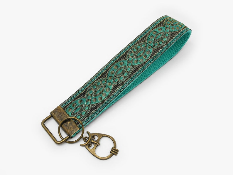 Turquoise Lanyard Wristlet Keychain with Owl charm Teal Keyring with Lucky Charm Eagle Owl Talisman Key Fob Cute Birthday Gift