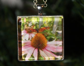 Beautifully Handcrafted, Pacific Northwest, Nature, Monarch Butterfly, Original Wearable Art, Photo Necklace