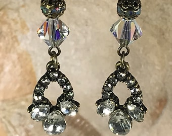 Bronze Crystal Charm with Swarovski Crystals Earrings
