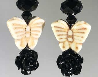 White Butterfly with Black Rose and Crystals Earrings