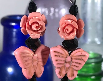 Pink Butterfly with Black Crystals Earrings