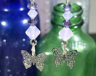 Butterfly with Purple & Lavender Swarovski Crystals Earrings