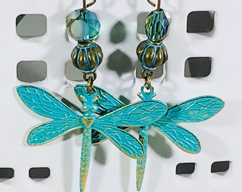 Dragonfly with Blue/Green Crystals Earrings