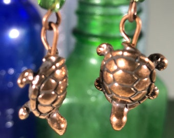 Copper Turtle with Green Leaf Drop Earrings
