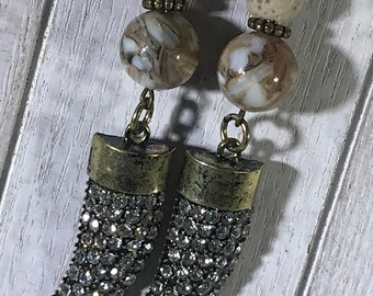 Bronze Crystal Charm with Lava Bead Earrings