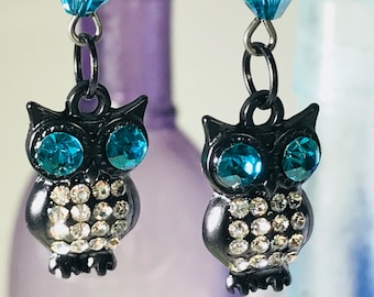 Owl with Teal/Blue Swarovski Crystals Earrings