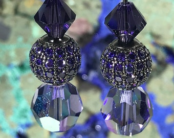 Purple Swarovski Crystals Earrings