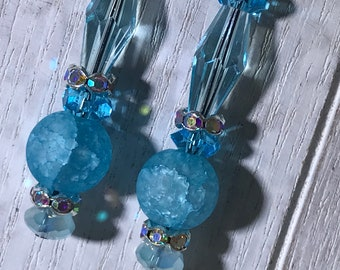 Turquoise Bead and Crystals Earrings