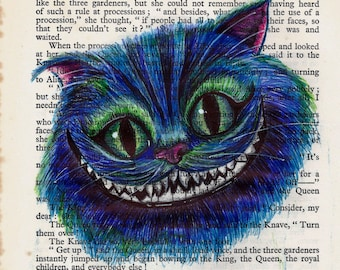 Cheshire Cat Biro Art Work On Vintage Alice in Wonderland Book Page,  A4 Canvas Paper Print