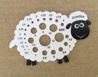 Sheep Needle Gauge, HiyaHiya Needle Gauge, HiyaHiya Sheep Gauge, Sheep Knitters Gauge Knitting Needle Gauge, Metric Needle Gauge, Lamb Gauge