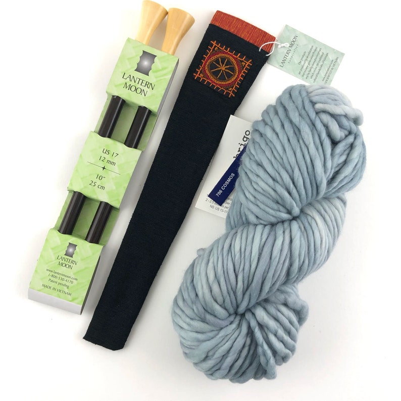 Hygge Road Scarf Kit Silk Needle Cover Malabrigo Rasta Glazed Carrot on model 1 Hank Scarf Pattern Lantern Moon US17 Ebony Needle