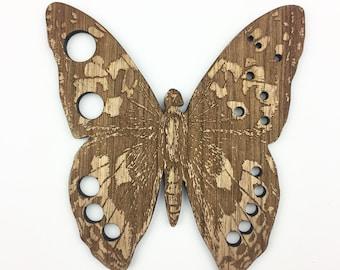 "Butterfly Needle Gauge, 5"" X 4.75"" Large Needle Gauge, Retromantic Fripperies Gauge Knitting Needle Gauge Wood Needle Gauge Knitters Gauge"