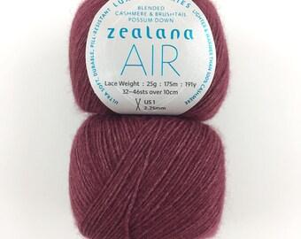 Zealana Air Lace Yarn A07 - BURGUNDY Brushtail Possum Cashmere Mulberry Silk Blend Yarn Cashmere Silk Blend Yarn Possum Lace Priced per Ball