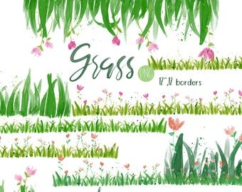 Grass Clipart,Greeny Clipart,Watercolor grass,Border,Borders,Nature Clipart,Grass Image,Graphic,Instant download Illustration_CA105