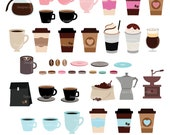 Coffee Clipart,Beans Clipart,Coffee Mugs Clipart,Coffee Grinder Clipart,Vector,Instant download Illustration_CA38