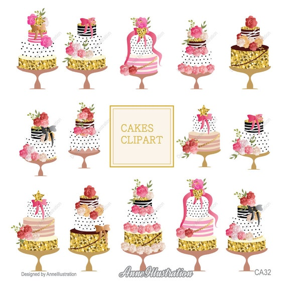 Kuchen Clipart Hochzeitstorte Cliparts Geburtstag Kuchen Etsy