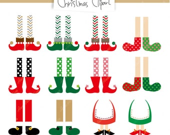 Christmas feet Clipart,Christmas Icon Clipart,Personal & Commercial use,Instant download,Vector_ H-02