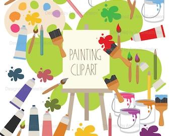 Painting Cliaprt,Art class Clipart,Art supplies Clipart,Paint Brushes Clipart,Drawing,Artist,Hobby,Vector,Instant download Illustration_CA22