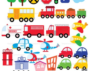 Fire Truck Clipart,Car,Train,Police car,Bus,Helicopter,Airplane,Transportation,ambulance,vehicle,Vector,Instant download Illustration_CA12