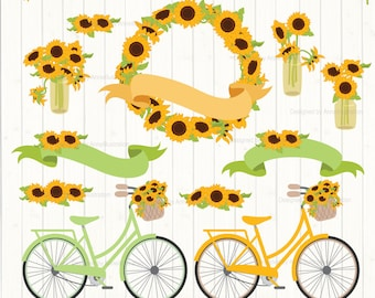 Sunflower Clipart,Bicycle Clipart,Wedding Clipart,Floral Clipart,Wreath Clipart,Love Clipart,Vector,Instant download Illustration_CA28