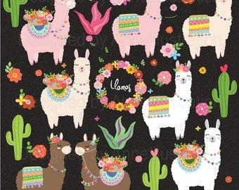 Llamas clipart,Alpaca,Cactus,Animal clipart,Graphic,Vector,Instant download Illustration_CA84