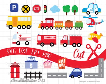 Fire Truck SVG,Cricut,Cut File,Car,Train,Police car,Bus,Helicopter,Airplane,Transportation,ambulance,vehicle,Instant download_CA12