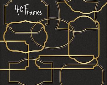 Gold frames Clipart,Gold foil frams Clipart,Vector,Instant download Illustration_F2