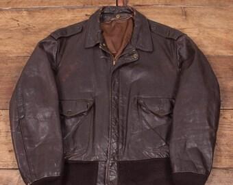 """Hombres Vintage 1970s cuero Schott Vuelo chaqueta para hombre L 44"""" R2875"""