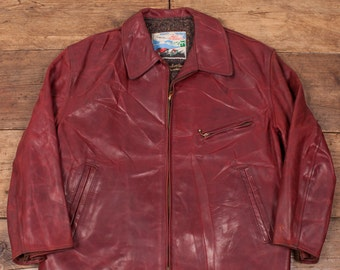 """7f248d135fd4a Mens Vintage 1960's Genuine Horsehide Aero Leather Red Jacket Size L 42""""  R2992"""