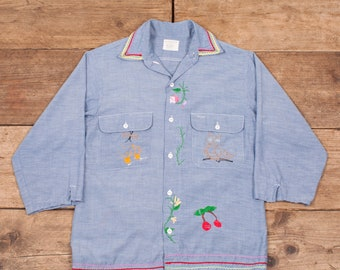f309dca98 Womens Vintage Big Mac 1970s Blue Selvedge Chambray Embroidered Shirt 10 XR  8597