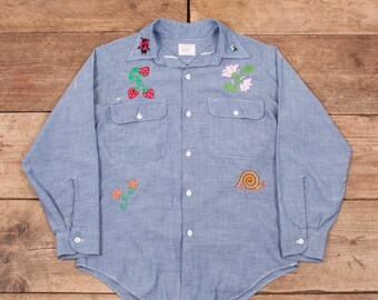 bcf39bb30 Womens Vintage Big Mac 1970s Blue Selvedge Chambray Embroidered Shirt 10 XR  8594