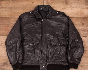 """ea6f1f35993991 Mens Vintage A2 Black Lined Leather Flight Pilot Bomber Jacket Large 44""""  R11652"""