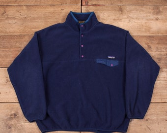 "b4afe56b197 Mens Vintage Patagonia Synchilla 90s Blue Snap T Fleece Sweatshirt XL 48""  R11844"
