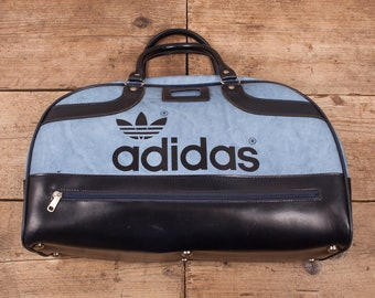 952a127536 Vintage Adidas Peter Black 70s Blue Vinyl Holdall Sports Duffle Bag R10884