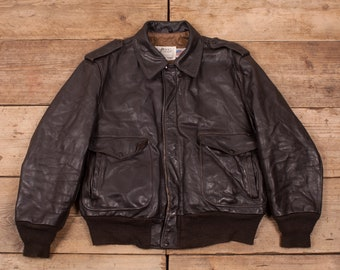 e4cdecfe3c9db9 Mens Vintage Schott NYC A2 Brown Leather Bomber Flight Jacket USA XL 46