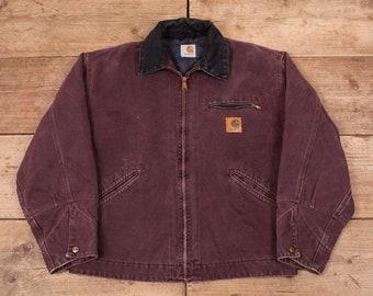 "e4c649f1f1 Mens Vintage Carhartt Plum Blanket Lined Workwear Chore Jacket XL 46"" R11873"