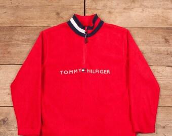 c0a1499eeabc2 Womens Vintage Tommy Hilfiger Red Half Zip Fleece Sweatshirt Large 12 R12119