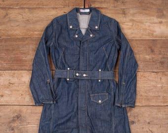 Womens Vintage 1990s Levis Blue Belted Denim Coat / Jacket Small 8 R6838
